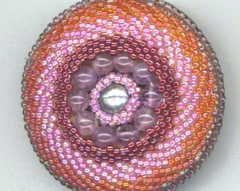 Beadwoven Amethyst Brooch . Statement . Pink Beaded Brooch . Breast Cancer Awareness - Magical Time Series by enchantedbeads on Etsy