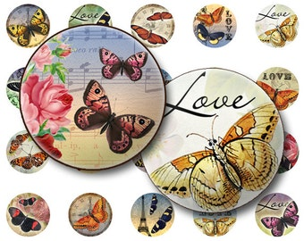 Butterflies collage sheet Digital Collage sheet 1x1 inch for jewelry circle pendants & magnets  digital collage sheet