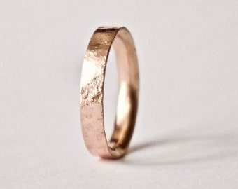 Rose Gold Ring with Distressed Texture - 9 Carat Red Gold Wedding Band -Organic Texture