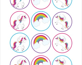 Edible Unicorns and Rainbows Cupcake Cookie Toppers