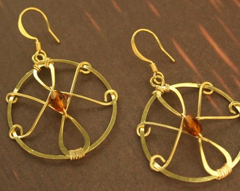 Brass wire-wrapped earrings with amber faceted bead