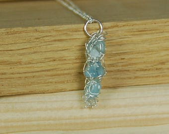 Wire wrapped pendant, aquamarine necklace, gift for her, bridesmaid jewellery, pendant necklace, march birthstone, gemstone jewellery