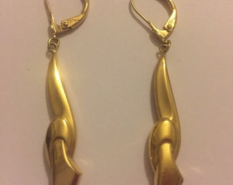 Vintage Art Deco Gold Double Dangly Earrings - Lever Backs