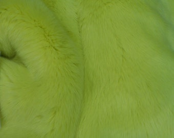 Korean Sunny Lime Luxury Mink Black Faux Fur Fabric