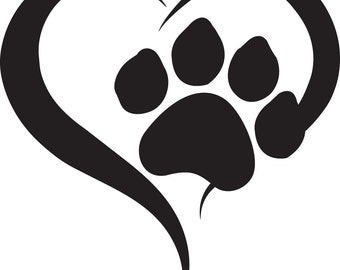 Paw Heart Vinyl Sticker