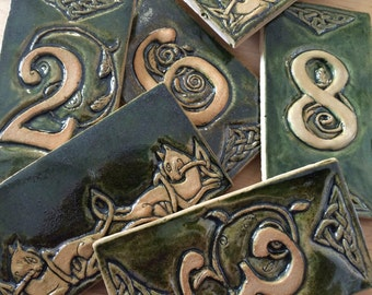 Celtic Bas Relief Ceramic House Numbers in Moss Green.