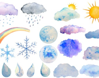 Weather clipart, watercolor sun moon rain drops, cloud for instant download scrapbook watercolor cards wedding invitations