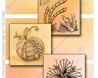 PEACHES and CREAM ZENTANGE Tiles - Printable Download Collage Sheet 6 Digital Cards 3.5x3.5 inches