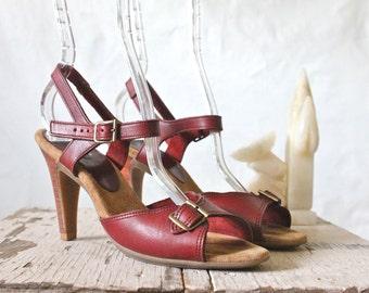 Vintage 70's Oxblood Stacked Leather Heels Sz 7N