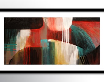 11x17 PRINT Abstract Painting on Glossy Cover Stock, Red Teal Black Wall Art by Maria Farias