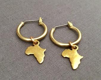 bandele - petite africa charm hoop earrings