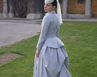 Customisable Victorian 1880s Bustle Dress Outfit in Linen
