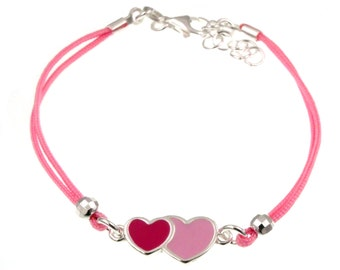 925 silver girl bracelet with double heart enameled and pink cotton gift idea