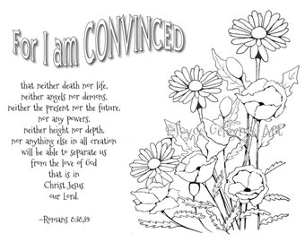 Coloring for Adults, Poppies, Bible Verse, Daisies, Hand Drawn Stamp Art, PLUS Tips for Coloring, Color Pencils, Romans 8, Instant Download