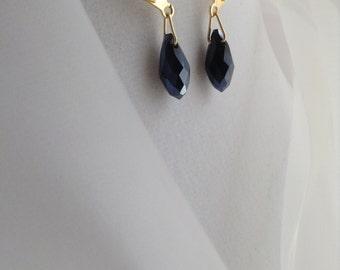 Beautiful Black Swarovski Briolette Crystal Earrings