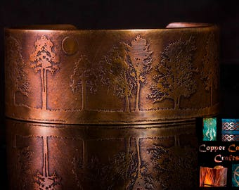 Chunky tree etched copper cuff with heat patina