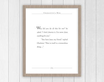 Charlotte's Web Quote | E.B. White quote | You Have Been My Friend | Charlotte's Web Nursery Decor | Motivational Quotes | Classic Lit Quote