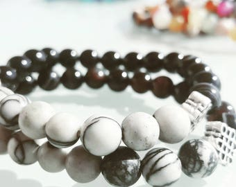 black agate and howlite gemstones bracelets handmade