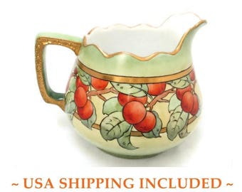 Antique Bavarian Cider Pitcher Large Hohenzollern China Circa 1910            Hand Painted and Artist Signed