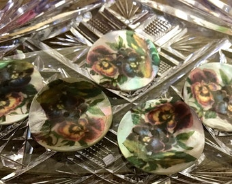 Akoya Shell pansy buttons 3 vintage pansies One button