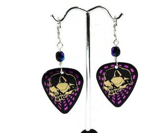 Skull Earrings, Skull Pick Earrings, Plectrum Earrings, Pick Earrings, Skull Jewellery, Rock Chick,  Tattoo Inspired, Musician Gifts,
