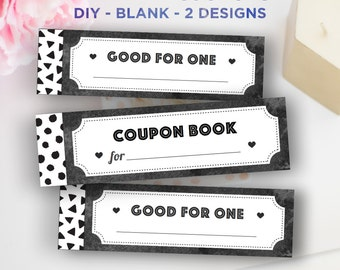 Printable Coupon Book DIY, Blank Vouchers, Printable Women Gifts, for Kids,  Best