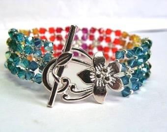 Cuff Bracelet Crystal Swarovski Rainbow multicolor 18.7 cm silver plated flower clasp