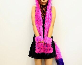 Bubblegum pink, purple, faux fur monster fox hood with ears, furry animal scoodie