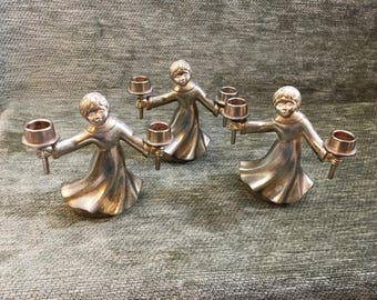 Brass Choir Boys Candlestick Holders, Plated Brass, 1960s, BMF Nagel, West Germany, Removable Candle Holders, Choir Singers
