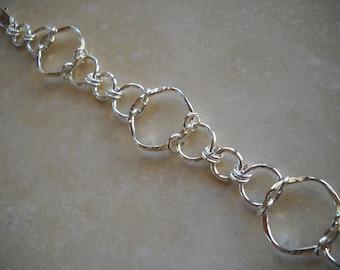 Sterling silver forged link bracelet