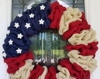 American Flag wreath, flag wreath, Patriotic wreath, Fourth of July wreath, 4th of July wreath, Stars and Stripes, Red white and blue wreath