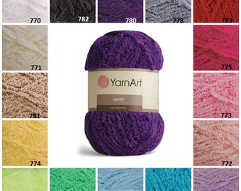 YarnArt HAPPY, Terry Yarn, Furry Yarn, Knitting Yarn, Terry Cloth Yarn, Soft Bulky Yarn, Baby Yarn, Crochet Yarn, Chenille-Like Yarn,