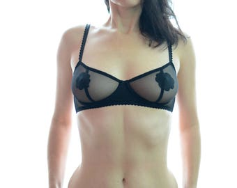Women Sleepwear & Intimates Bras The Flower Insert Sheer Cup Black Mesh Women Underwired Bra MADE TO ORDER