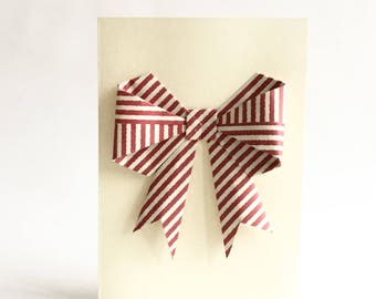 Origami Bow, Origami Bow Card, 3D Bow Card, Big Bow Card, Origami Art, Girly Card, Red Bow