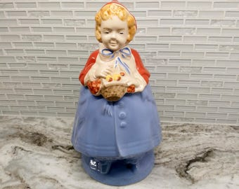 1940s Pottery Guild of America Little Red Riding Hood cookie jar, open basket, periwinkle skirt, red riding hood cookie jar