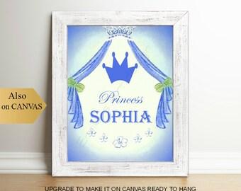 Girl's Princess Wall Art, Custom Name Children's Art Print, Princess room Decor, Baby Girl Princess Nursery Art, Children Princess Art
