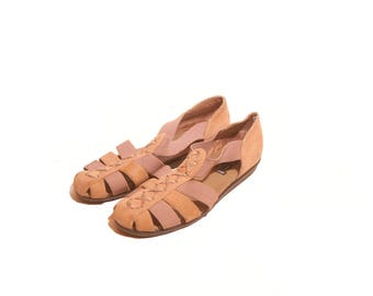 Vintage 1990s Tan Ultra Soft Suede KB and Company Sandals size 6 and a half M
