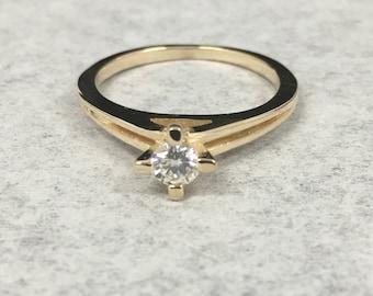 14KT Ladies Diamond Engagement Ring .22 ct Round Size 5/