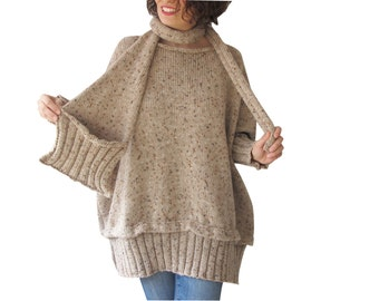 Tweed Beige Over Size Sweater with Pocket Scarf by AFRA Sweater - Scarf Set Plus Size
