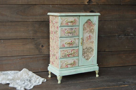 Shabby Chic Jewelry Armoire Jewelry Box Sage Green Gold
