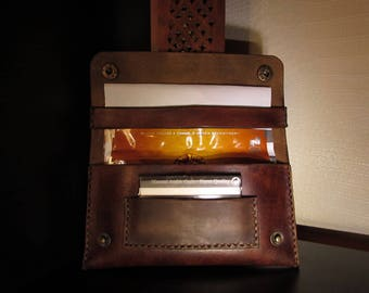 tobacco pouch brown leather vintage
