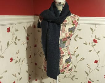 Irish Tweed Scarf - Celtic Wrap - Stole - 100% Irish Wool- blue herringone