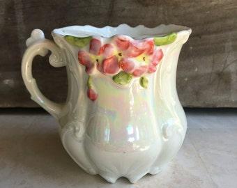 Antique Fulda Mustache Mug 1764-1789 German Lusterware w/Pink Flowers - # D2049