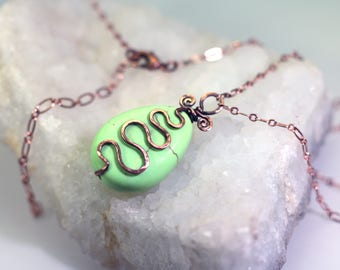 Lemon Chrysoprase Pendant Necklace: Hammered Nickel-Free Copper Wire Squiggle, Mint Green Gemstone, Adjustable Copper Chain, DoodlepunkArt