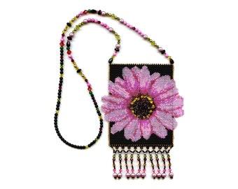 Pink Flower Peyote Beaded Amulet Bag Necklace Floral