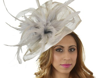Silver Grey Velidhoo Fascinator Hat for Kentucky Derby,Melbourne Cup, Ascot (30 colours)