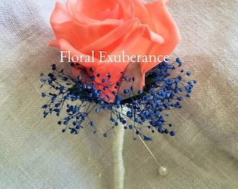 Artificial Coral,Blue,Navy, Foam Rose Buttonhole/Boutonniere, Navy Blue and Coral Wedding Buttonhole