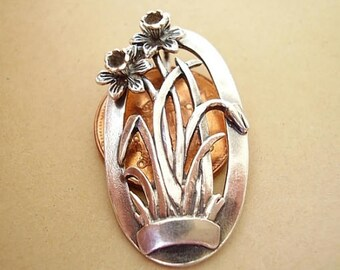Sterling Silver DAFFODIL  BROOCH PIN