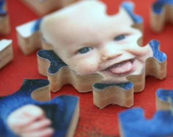 Wooden photo jigsaw puzzle. Custom photo puzzle. Personalized gift. Wood, handcut, handcrafted. Perfect grandparent gift. Bella Puzzles.