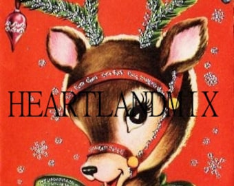 Glitter Reindeer  Christmas Image